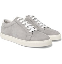 Brunello Cucinelli Apollo Full Grain Leather Trimmed Nubuck Sneakers Gray