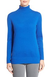 Nordstrom Cashmere Turtleneck Sweater Blue Olympus