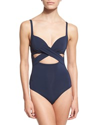 Jets By Jessika Allen Illuminate Crisscross Cutout One Piece Swimsuit Ink Women's