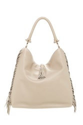 Sondra Roberts Nappa Leather Fringe Hobo Bag