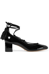 Schutz Ariana Suede Trimmed Patent Leather Pumps Black