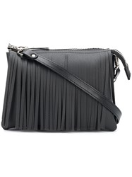 Gum Fringed Shoulder Bag Black