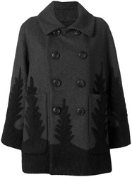 Dsquared2 Double Breasted Coat Women Polyamide Polyester Cashmere Virgin Wool 36 Grey