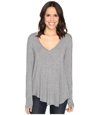 Heather Long Sleeve V Neck Tee Light Grey Women's T Shirt Silver