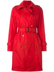 Aspesi Double Breasted Belted Trenchcoat Red