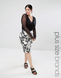Missguided Plus Camo Print Pencil Skirt Multi