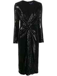 Ralph Lauren Collection Sequin Embroidery Midi Dress Black