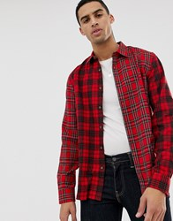 Hymn Patchwork Check Shirt Red