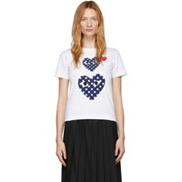 Comme Des Garcons Play White Polka Dot Double Heart T Shirt