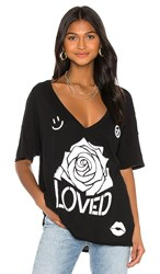 Lauren Moshi Brixton Short Sleeve Oversized V Neck Tee In Black.