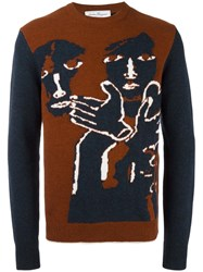 Salvatore Ferragamo Intarsia Knit Jumper Blue