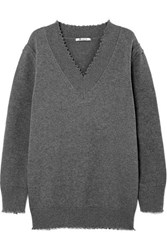 Alexander Wang T By Distressed Cotton Blend Sweater Gray