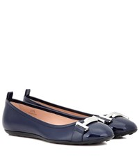 Tod's Double T Patent Leather Ballerinas Blue