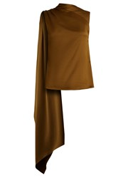 Osman Diana Draped Panel Asymmetric Satin Top Khaki