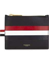 Thom Browne Web Stripe Leather Coin Purse Black