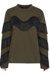 W118 By Walter Baker Alexis Fringed Cotton Blend Sweatshirt Army Green