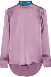 Matthew Williamson Two Tone Silk Satin Blouse Purple