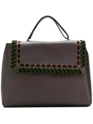 Orciani Ethnic Velvet Tote Brown