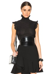 Alexander Mcqueen Sleeveless Top In Black Metallics