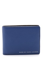Marc By Marc Jacobs Classic Leather Color Block Martin Wallet Skipper Blue