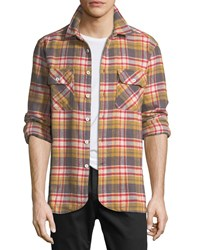 Ovadia And Sons Ian Flannel Plaid Overshirt Gold