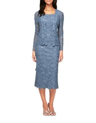Alex Evenings Two Piece Lace Tiered Dress And Jacket Set Blue Quartz