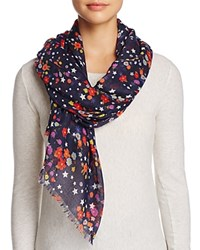 Aqua Star Floral Scarf 100 Exclusive Midnight Blue Multi