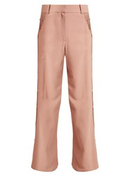 Sies Marjan Willow Wide Leg Pinstriped Cady Trousers Beige Multi