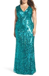 Mac Duggal Plus Size Women's Sequin Plunging V Neck Gown