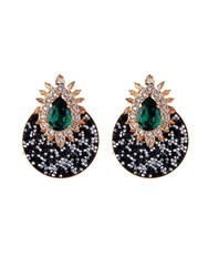 Shourouk Luna Crystal Embellished Earrings Green Multi
