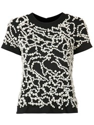 Vera Wang Pearl Embroidered T Shirt Black