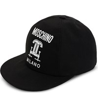 Moschino Logo Printed Cotton Baseball Cap Black
