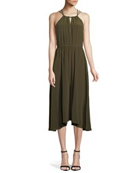 Milly Mykonos Cross Back Halter Dress Army Green