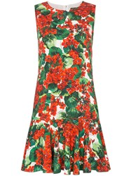 Dolce And Gabbana Cady Floral Print Dress Red