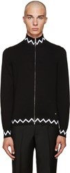 Versace Black Zig Zag Sweater