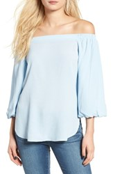 Soprano Women's Bubble Sleeve Off The Shoulder Top Sky Blue