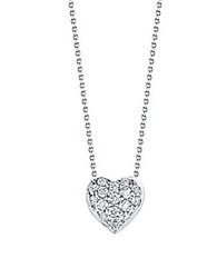 Roberto Coin Tiny Treasures Diamond And 18K White Gold Heart Pendant Necklace