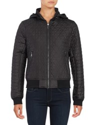 Andrew Marc New York Zip Out Hood Quilted Coat Black