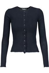 Helmut Lang Ribbed Cashmere Cardigan Midnight Blue
