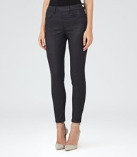 Reiss Hedy Coated Womens Coated Cropped Jeans In Blue