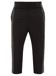 Rick Owens Astaires Cropped Side Stripe Crepe Trousers Black