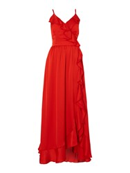 Little Mistress Sleeveless Maxi Dress With Frill Detail Red