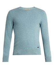 Burberry Waffle Knit Cashmere Sweater Light Blue