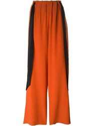 Cedric Charlier High Waisted Tie Straps Trousers Yellow And Orange