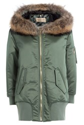Burberry London Satin Jacket With Fur Trimmed Hood Green