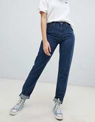 Lee High Rise Mom Jean In Pinstripe Candy Cane Blue