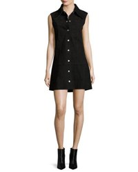 Mcq By Alexander Mcqueen Marianne Sleeveless Suede Mini Dress Black
