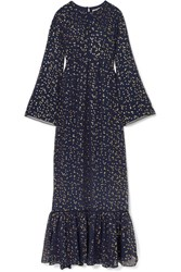 Michael Michael Kors Lattice Trimmed Printed Georgette Maxi Dress Navy