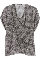 Maria Grachvogel Warhol Draped Snake Print Silk Georgette Top Black