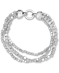 Nine West Silver Tone Metallic Bead Multi Row Stretch Bracelet